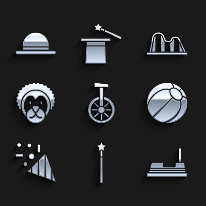 Set Unicycle or one wheel bicycle, Magic wand, Bumper car, Beach ball, Festive confetti, Wild lion, Roller coaster and Clown hat icon. Vector