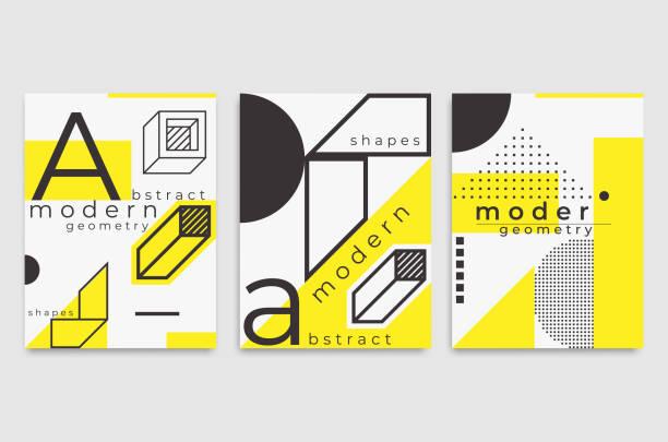 set universal trend poster lineare geometrische formen - bauhaus stock-grafiken, -clipart, -cartoons und -symbole