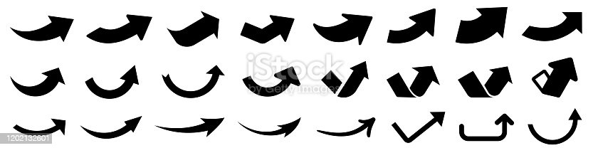 Set up arrows icon. Group arrows directed upwards, startup concept, business vision. Different black arrows sign. Elements for business infographic – stock vector