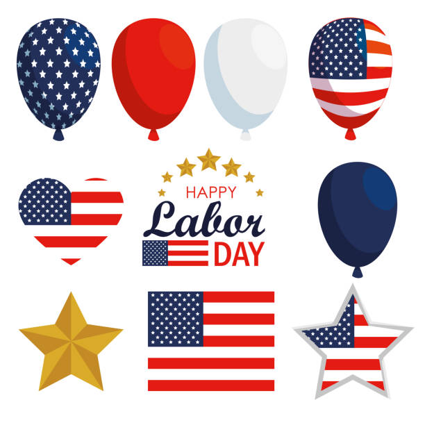 set usa flag balloons decoration to labor day - may day stock illustrations, clip art, cartoons, & icons