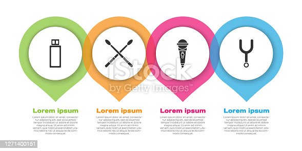 istock Set USB flash drive, Drum sticks, Microphone and Musical tuning fork. Business infographic template. Vector 1271400151