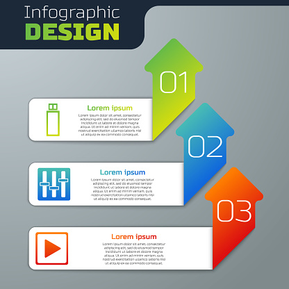 Set USB flash drive, Sound mixer controller and Play in square. Business infographic template. Vector