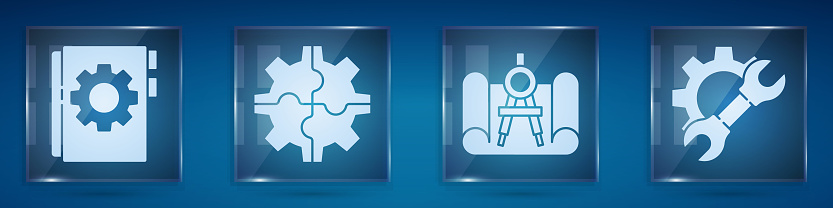 Set User manual, Gear, Graphing paper and compass and Wrench spanner and gear. Square glass panels. Vector