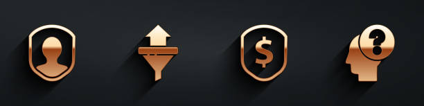 Set User protection, Sales funnel with arrows, Shield with dollar and Human head with question mark icon with long shadow. Vector Set User protection, Sales funnel with arrows, Shield with dollar and Human head with question mark icon with long shadow. Vector one man only stock illustrations