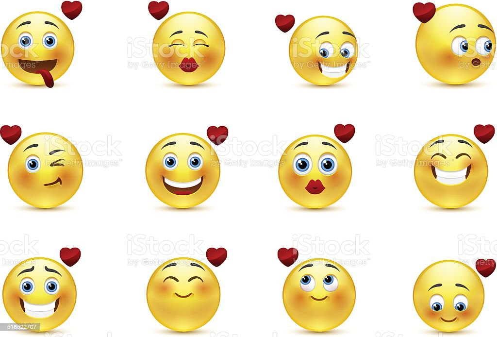Set valentine of smilies vector art illustration