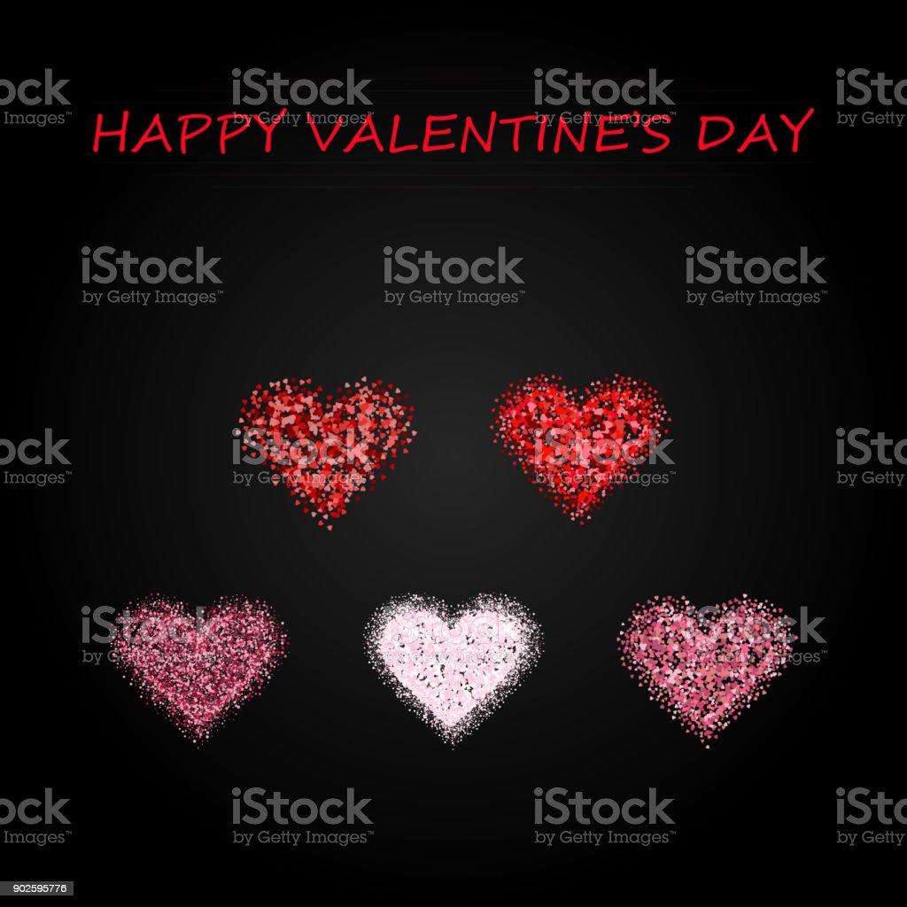 Set valentines hearts on black background.Vector illustration vector art illustration