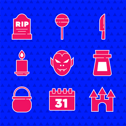 Set Vampire, Calendar with Halloween, Castle, Bottle potion, witch cauldron, Burning candle, Knife and Tombstone RIP written icon. Vector