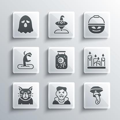 Set Vampire, Psilocybin mushroom, Burning candle, Eye jar, Cat, Zombie hand, Ghost and Pumpkin basket for sweets icon. Vector