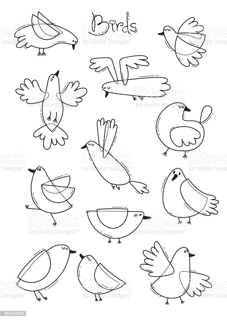 Set Variety Of Abstract Birds Simple Line Design Coloring Book Page Vector Illustration