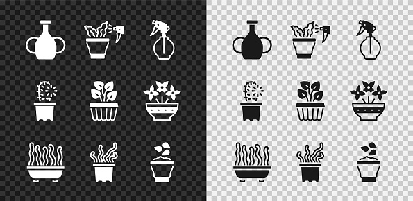 Set Vase, Spraying plant, Water spray bottle, Plant pot, Exotic tropical, Seeds bowl, Cactus peyote and Indoor ivy icon. Vector