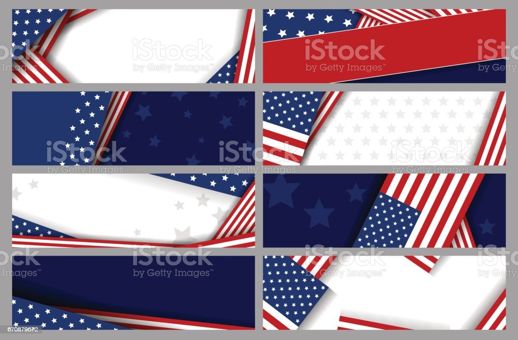 Set vector abstract background design of american flag vector art illustration