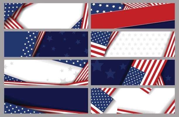 set vector abstract background design of american flag - presidents day stock illustrations, clip art, cartoons, & icons