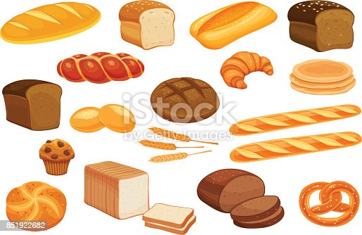 Set vector bread icons. Rye bread and pretzel, muffin, pita bread, ciabatta and wheat bread, croissant, whole grain bread, bagel, toast bread, french baguette for design menu bakery.