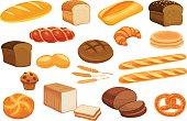 Set vector bread icons.