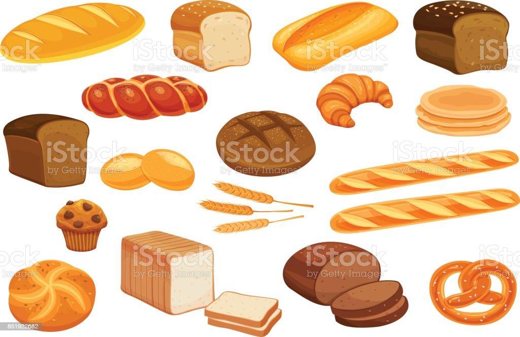 Set vector bread icons. vector art illustration