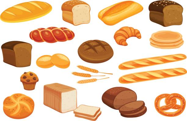Set vector bread icons. Set vector bread icons. Rye bread and pretzel, muffin, pita bread, ciabatta and wheat bread, croissant, whole grain bread, bagel, toast bread, french baguette for design menu bakery. bread stock illustrations