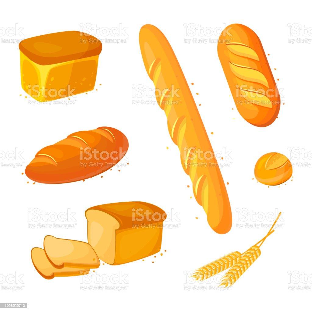 Définir le vecteur pain icônes. Illustration vectorielle isolée sur fond blanc. Produits de boulangerie en style cartoon. - Illustration vectorielle