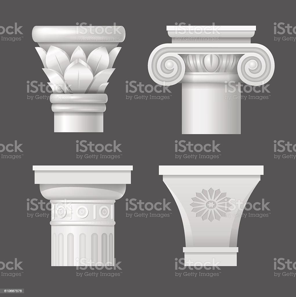 Set vector capitals vector art illustration