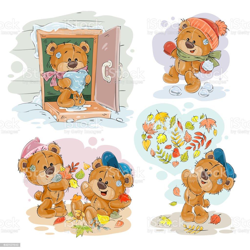 set vector clip art illustrations of funny teddy bears おもちゃの