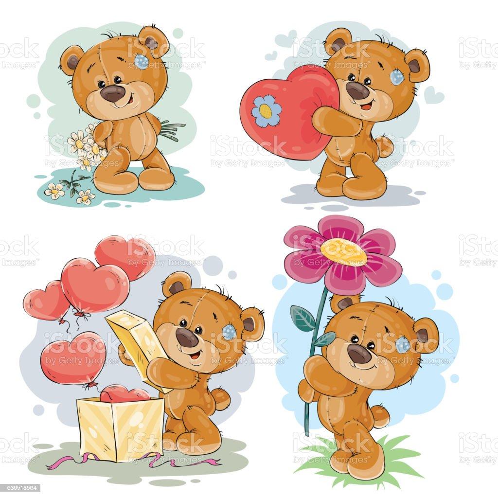 set vector clip art illustrations of teddy bears おもちゃの