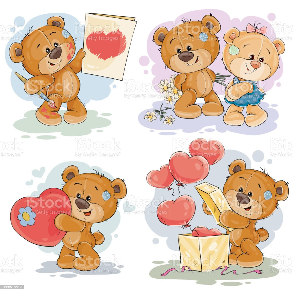 Set vector clip art illustrations of teddy bears - ilustração de arte vetorial