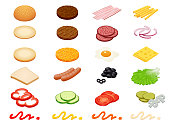 Set vector constructor isometric Burger ingredients and burger buns isolated on white background. Ham, cheese, egg, onion, tomato, cucumber, mushrooms, radishes, salad, cutlet, potato and pepper