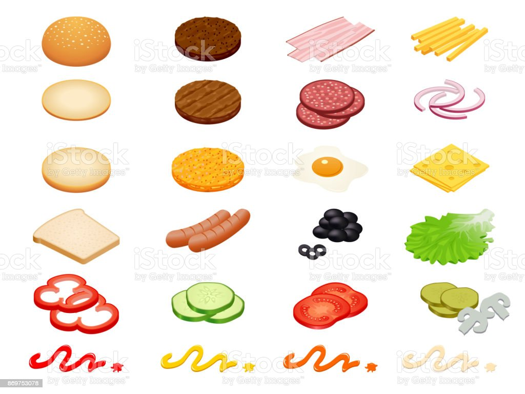 Set vector constructor isometric Burger ingredients and burger buns isolated on white background. Ham, cheese, egg, onion, tomato, cucumber, mushrooms, radishes, salad, cutlet, potato and pepper vector art illustration