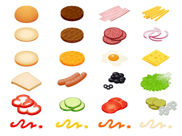 set vector constructor isometric burger ingredients and burger buns isolated on white background. ham, cheese, egg, onion, tomato, cucumber, mushrooms, radishes, salad, cutlet, potato and pepper - lettuce stock illustrations
