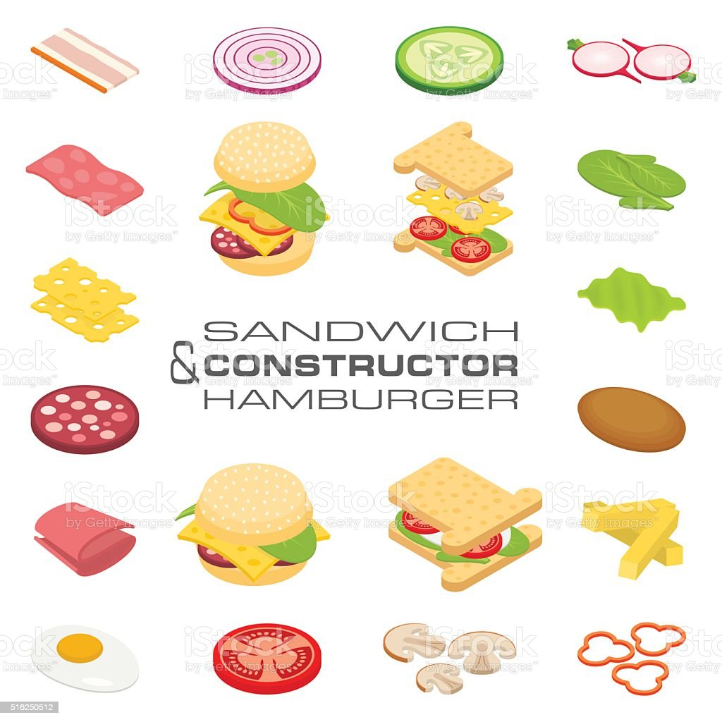 Set vector constructor isometric sandwich and hamburger ingredients vector art illustration