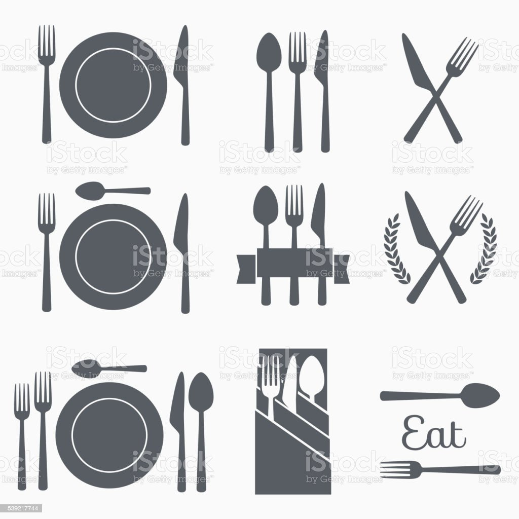 Set vector cutlery icons vector art illustration