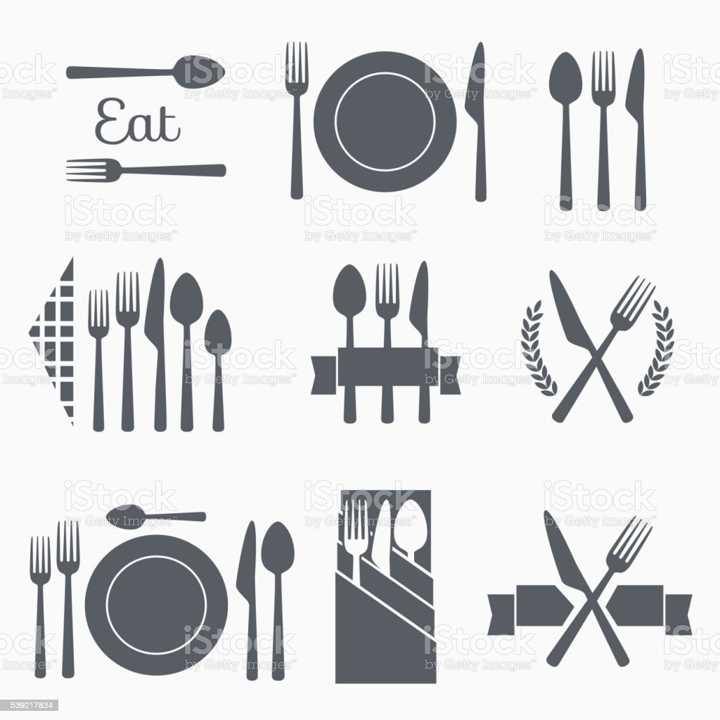 Set vector cutlery icons royalty-free set vector cutlery icons stock illustration - download image now