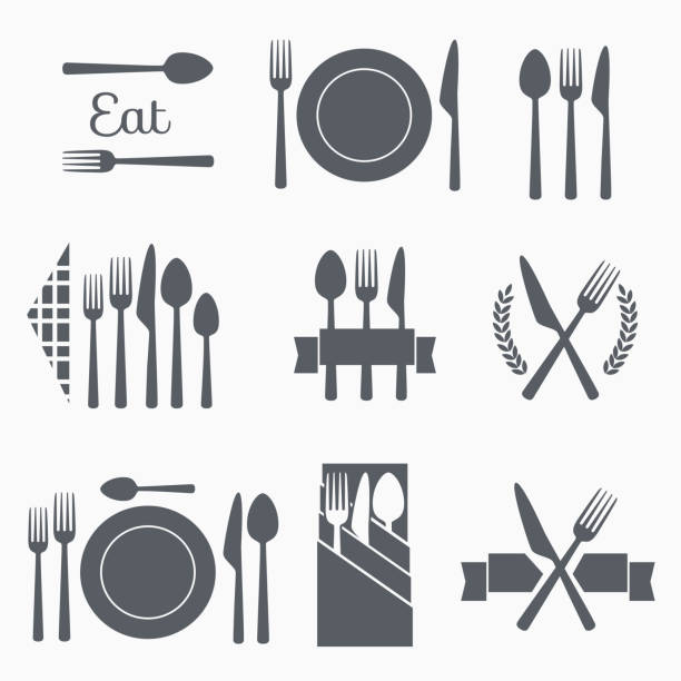Set vector cutlery icons Set cutlery icon vector illustration. Black silhouette of fork, knife, spoon and plate. Table appointments. Menu backgrounds symbols stock illustrations
