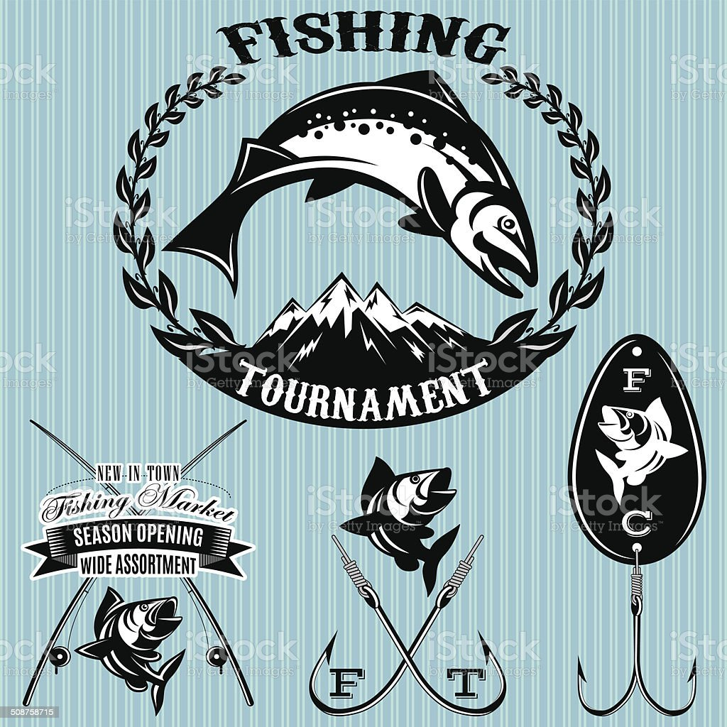 set vector emblems on the topic fishing vector art illustration