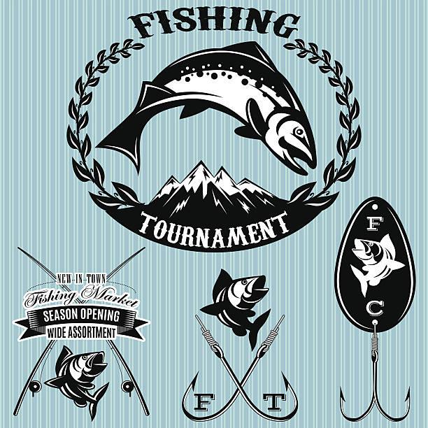 set vector emblems on the topic fishing vector art illustration
