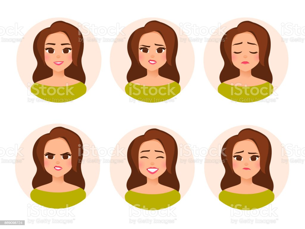 Set vector female character avatar with different facial expressiions in cartoon flat style. vector art illustration