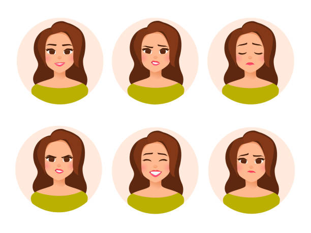 set vector female character avatar with different facial expressiions in cartoon flat style. - brown hair stock illustrations