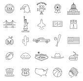 Set Vector Flat Line Icons USA and America