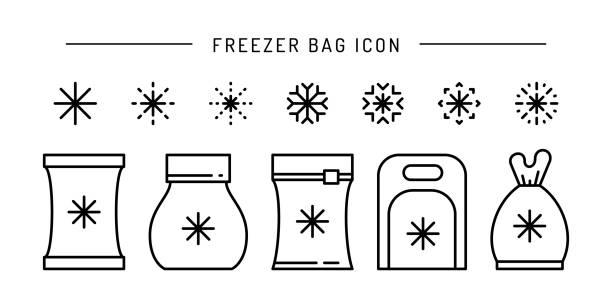 stockillustraties, clipart, cartoons en iconen met de omtrek van het pictogram van vectorbevroren voedselzak instellen - chicken bird in box