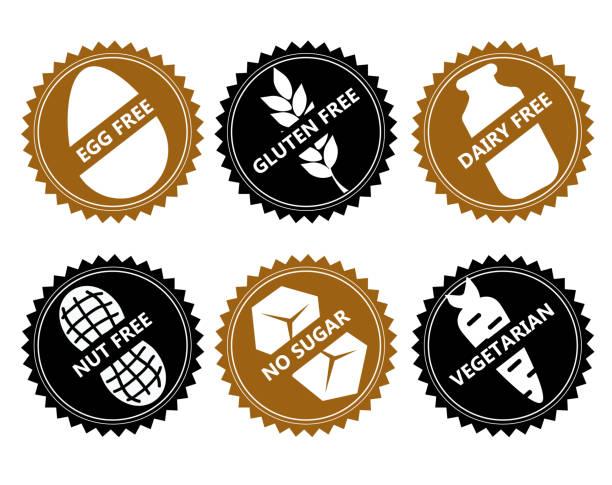 ilustraciones, imágenes clip art, dibujos animados e iconos de stock de no set huevo de icono de vector libre de gluten, lácteos, tuerca, azúcar, vegetarianos. - comida vegetariana