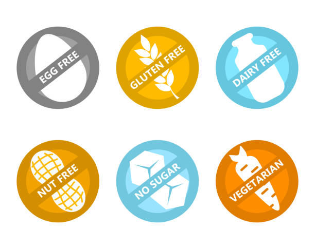 set Vector icon  egg free, gluten, dairy, nut, no sugar, vegetarian. Set of icons illustrating absence of common food allergens (gluten, dairy, egg, nuts, sugar) plus vegetarian signs. pollen stock illustrations