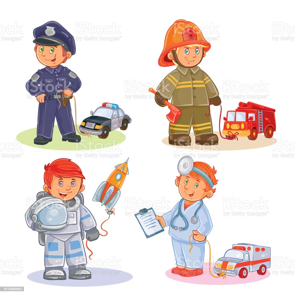 Set vector icons of small children different professions vector art illustration
