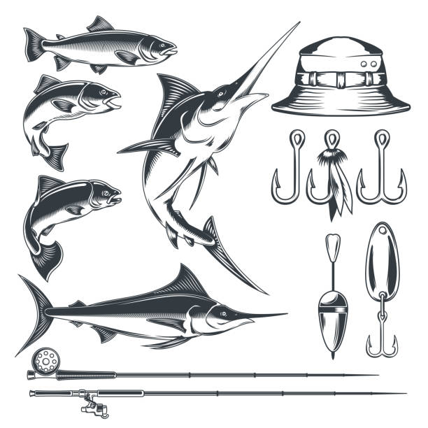 Set vector icons on the theme of fishing vector art illustration