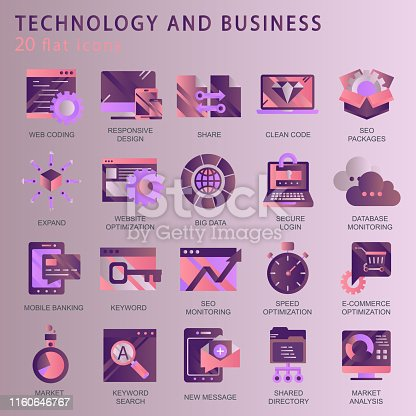 1054713428 istock photo Set vector icons with elements for mobile concepts and web apps. Business and marketing, programming, data management, internet connection, social network, computing, information. Vector 1160646767