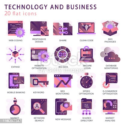 1054713428 istock photo Set vector icons with elements for mobile concepts and web apps. Business and marketing, programming, data management, internet connection, social network, computing, information. Vector 1160647347