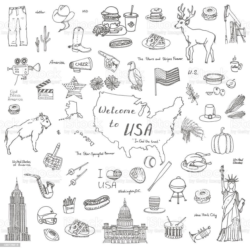 USA set vector art illustration