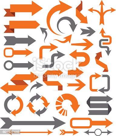 Vector illustration of the arrow set.
