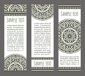Vector set of ornamental banners. Decorative headers with traditional festive mandala. Tribal  ethnic covers