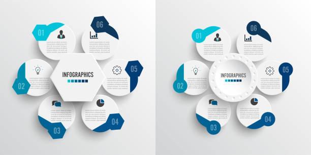 Establezca infografías de ilustración vectorial 6 opciones. Plantilla para folleto, negocio, diseño web. Para contenido, diagrama, diagrama de flujo, pasos, partes, infografías de escala de tiempo, flujo de trabajo, gráfico - ilustración de arte vectorial