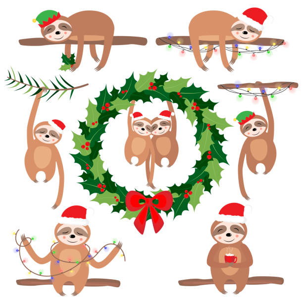 Set Vector illustration with cute sloth in the winter. Christmas and New Year Greeting card. Set Vector illustration with cute sloth in the winter. Christmas and New Year Greeting card. baby sloth stock illustrations