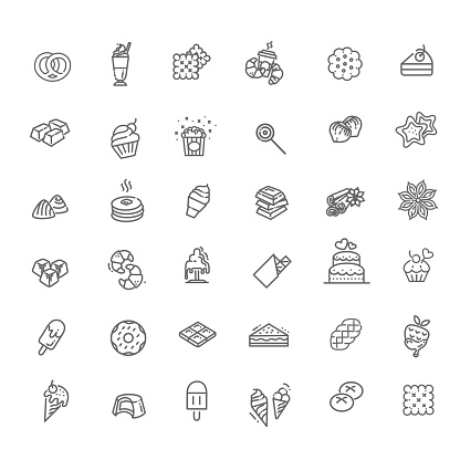 Set vector line icons in flat design chocolate, dessert and candy
